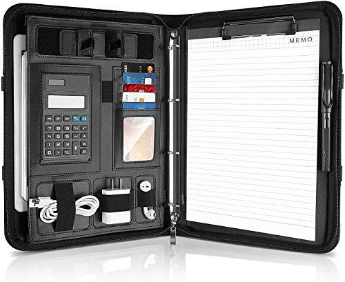 MVPower Konferenzmappe,A4 Schreibmappe, A4 Leder Aktentasche mit Reißverschluss und Telefonständer und 2 elastischen Taschen und Schlaufen