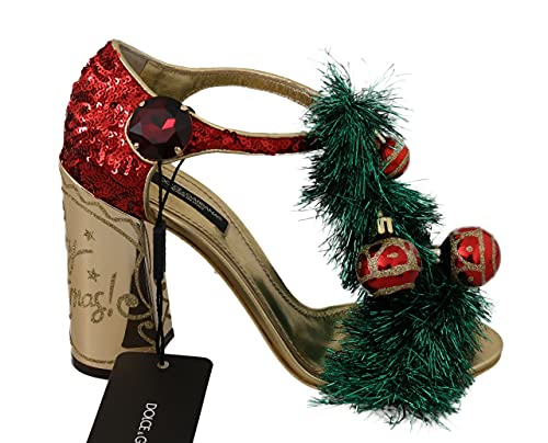 Dolce & Gabbana Gold Leather Crystal CHRISTMAS Sandals Shoes (numeric_8_point_5)