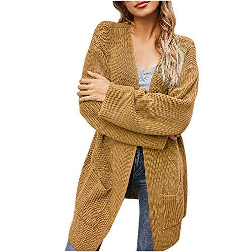 Routinfly Abrigo de invierno para mujer, de manga larga, de punto, de color sólido, cuello en V