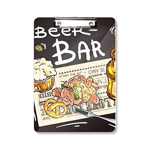 Bier Bar Gourmet Brood Frankrijk Klembord Folder Schrijven Pad Backing Plate A4