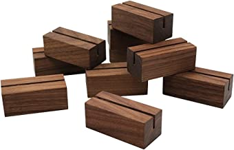 JINMURY 20 Pack Walnut Wood Place Card Holders   Wooden Stands for Table Numbers   Wood Table Sign Holder Stand   Photo St...