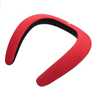 ウェアラブル ネック Bluetooth 4.1 着るスピーカー 内蔵デュアルスピーカー 高音質 重低音 軽量 3Dサウンドボックス (レッド)