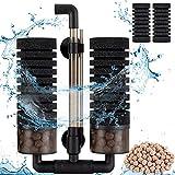 Hygger Filtros para Acuarios, Filtro Bioquímico Esponjas para Acuario con 4 Esponjas y 1 Bolsa de Bola de Cerámica Filtro Interno para Acuario de Agua Dulce y Mar por 57 à 208 litres (M)
