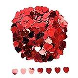 Confeti de Corazón Confeti Metálico Lentejuelas Brillantes de Corazón para Decoraciones de Mesa de Fiesta de Boda, Rojo, 10 mm, 1 Onza