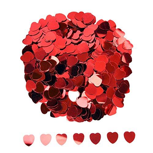 eBoot Herz Konfetti Metallisch Folie Herzen Konfetti Glitzer Herzen Pailletten für Valentinstag Hochzeit Party Tisch Dekorationen, Rot, 10 mm, 1 Unzen
