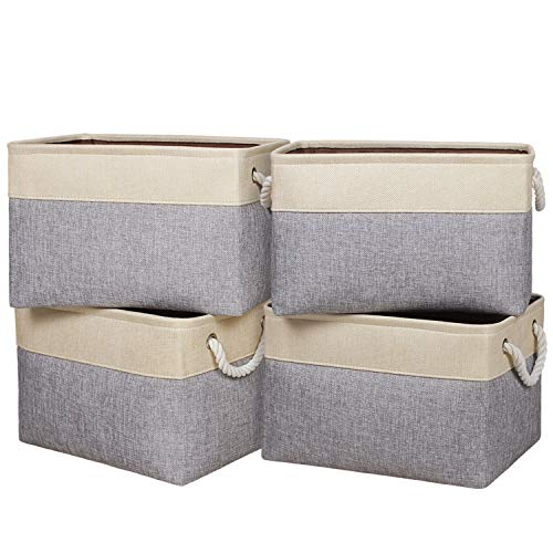 "Univivi Foldable Storage Bin 4-Pack Rectangular Basket with Sturdy Cotton Handles Collapsible Organizer Bin for Shelf Closet Nursery Home Office Organizing Gray 15""X105""X95"""