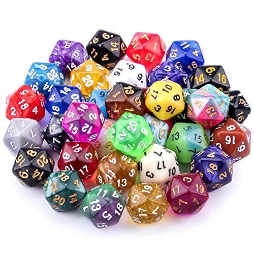 SIQUK 35 Pièces Dés Polyédriques Jeu de Dés 20 Faces Multicolore Dés pour DND RPG et Enseignement des Mathématiques avec Pochettes Gratuites