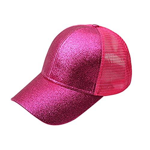 UKKD Gorra De Béisbol Cola De Caballo Gorra De Béisbol Mujer Snapback Verano Malla Sombrero Femenino Moda Hip Hop Hats Casual Al Aire Libre-Shiny Rose,1