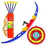 Toysery Bow and Arrow for Kids - Archery Bow with 5 Suction Cups Arrows, Target, and Quiver - Practice Outdoor Toys for Children Above 6 Years of Age