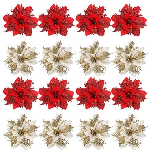 TOYANDONA 24 Pezzi Natale Glitter Poinsettia Fiori Ornamenti Albero di Natale Fiori Artificiali per La Decorazione della Ghirlanda di Natale (Rosso + Dorato)