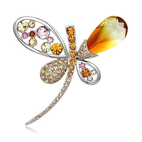 Kemstone - Broche Chapado en Plata Iridiscente Colorido Cristal Ombre Naranja circonita cúbica libélula joyería de Moda para Mujer