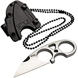 SOG Small Fixed Blade Knives - Snarl 2.3 Inch Sheepsfoot Blade, Belt Knife and Boot Knife w/Survival Knife Sheath and Neck Knife Chain (JB01K-CP)