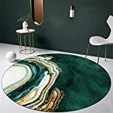 ZYYJ Moderner runder Teppich Grün und Gold Abstraktes Kunstdesign, für Wohnzimmer Schlafzimmer Sofa Küche Garderobe Stuhl Matte Weicher Teppich-Durchmesser 120CM