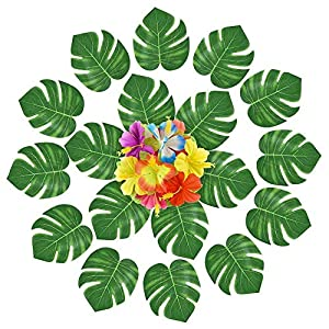 ZKS-KS Set of 120 Hawaii Style Decorating Pieces for Summer with Leaves and Artificial Hibiscus Flowers – Tropical Plants – Birthday Party Accessories
