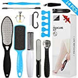 Professional Pedicure Kit Foot Files Set Tools Gift, Double Sided Files Exfoliating Prevent Dead Skin Foot Skin Care Tool Set Salon Pedicure Kit Washable Effectively 13 in 1