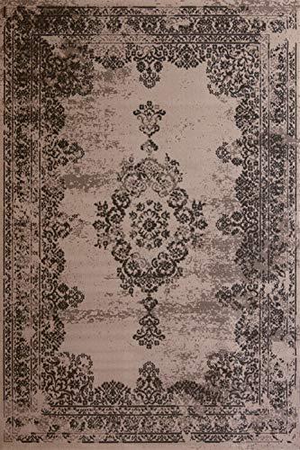 Moderner Teppich Vintage Taupe 120x170 cm - günstiger Velours Teppich im angesagten Shabby Chic