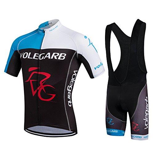 Feilaxleer Ropa Ciclismo Verano para Hombre y Mujer - Un Conjunto de Ciclismo Jersey Maillot y Culotte Pantalones Cortos (Negro Azul,L)