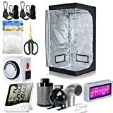 32''x32''x63'' Hydroponics 600D Mylar Grow Tent Room w/Waterproof Floor Tray + Full Spectrurm LED300W Grow Light + 4'' Inline Fan Filter Ducting Combo + Grow Light Hangers + Digital Hygrometer + 60mm Bonsai Shears + 24 Hour Timer + Trellis Netting In...