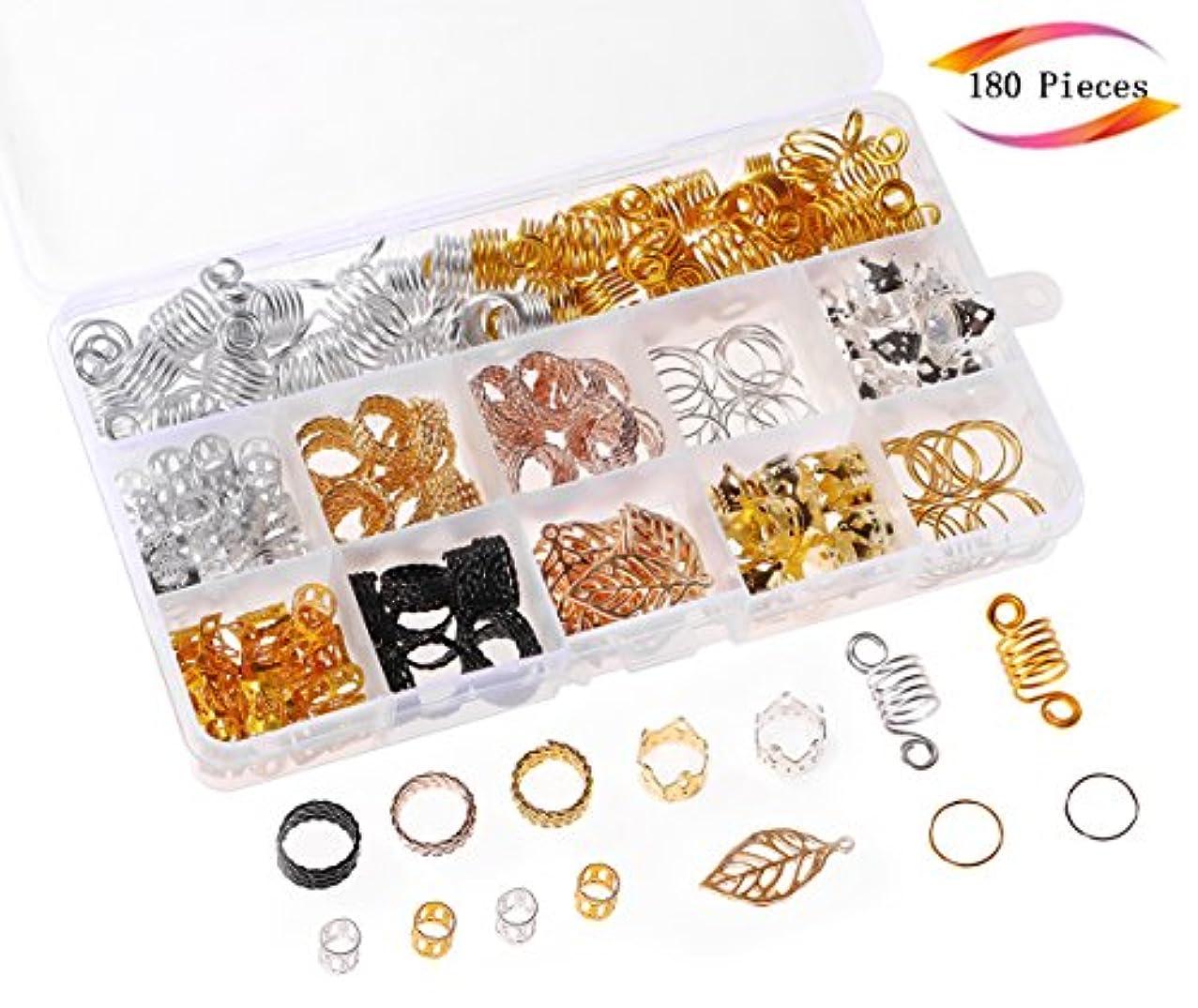 180 Pieces Aluminum Hair Coil Dreadlocks Hair Braid Rings Dreadlocks Metal Hair Cuffs Hair Braiding Beads for Hair Accessory, Valentines