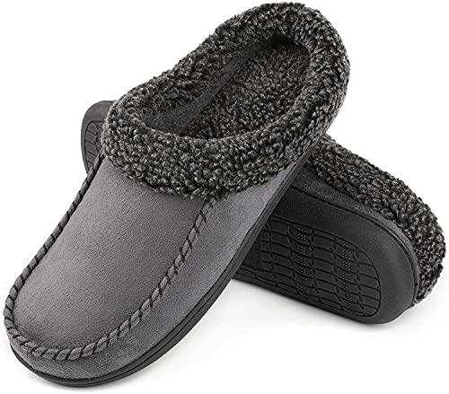 ULTRAIDEAS - Zapatillas de ante con espuma viscoelástica para hombre, con forro de lana de felpa difusa y sin cordones, zapatos de casa con suela de goma antideslizante para interiores y exteriores., gris, 13-14