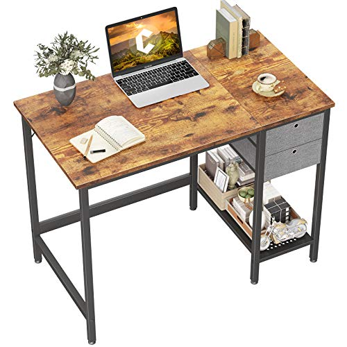Cubiker Home Office Computer Desk with Drawers, 40 Inch Study Writing Table, Modern Simple Style PC Desk, Rustic Brown