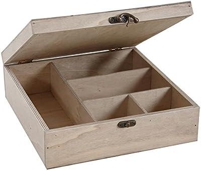 Coffret boite à couture en bois et verre 5 compartiments