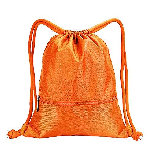 Alixin – Nylon-Rucksack, großes Fassungsvermögen, doppelte, stabile Kordelzug-Tasche mit Taschen, wasserdichter Sport-Rucksack, Basketball-Tasche, geeignet für Teenager und Erwachsene., ALIXIN, Orange