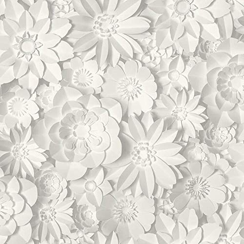 3D Effect Floral Wallpaper Flowers White Grey Washable Fine Decor Dimensions from YöL
