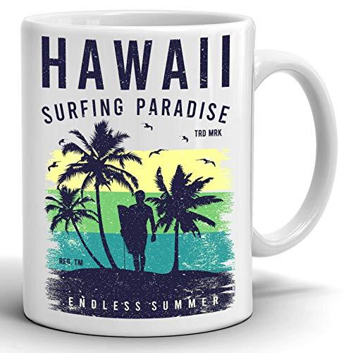 Lustige Tasse Hawaii Surfen Tasse Kaffeetasse 313 ml weiße Keramiktasse
