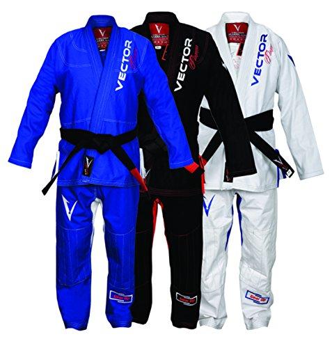 Vector Brasileño Jiu Jitsu Gi BJJ Kimono Serie Flamma con Cinturón Blanco Libre Tela Ultra Fuerte Preshrunk para Hombres y Mujeres