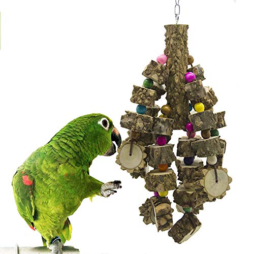 Parrot Toys, Natural Wood Big Bird Toys African Grey Parrot Chewing Toys Bird Cage Toy with Hook, Great for Small Medium and Large Parrots and Birds Like Macaw Budgies Parakeet Cockatiel Lovebird
