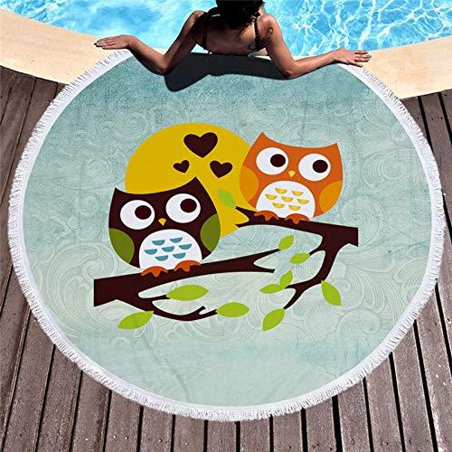 Vioyo strandhanddoek met uil, bedrukt, rond, microvezel, schattig, diermotief, badmat, groot, wasbaar, 150 cm, picknick, yogamat