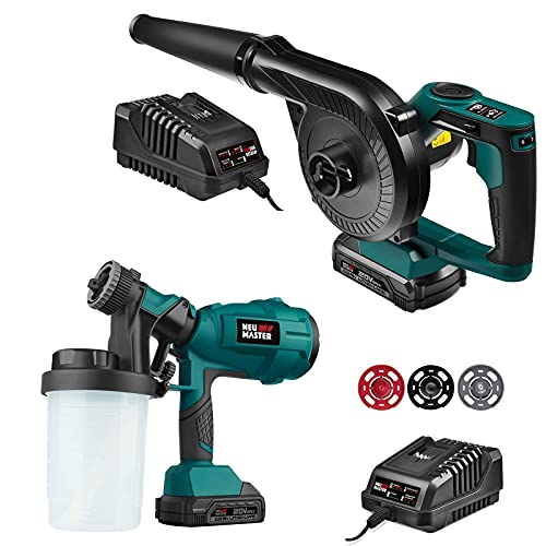 Cordless Paint Sprayer, NEU MASTER Electric HVLP Powerful Spray Gun with 3 Spray Patterns and Adjustable Valve Knob and Cordless Compact Jobsite Blower Vacuum with Variable Speed, 20V MAX 2.0Ah Batte