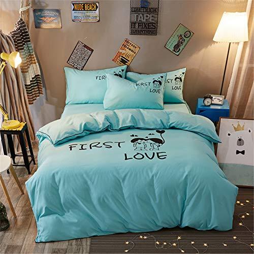 DUJUN Conjunto de Ropa de Cama de Dibujos Animados de Dormitorio de Personalidad de Color sólido (Funda nórdica + sábanas + Funda de Almohada) A-22 150 * 200cm+200 * 230cm+(48 * 74cm)*2