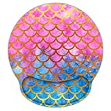 Non Slip Mouse Pad Wrist Rest for Office, Gaming,Computer, Laptop & Mac - Durable & Comfortable & Lightweight for Easy Typing & Memory Foam Pain Relief-Ergonomic Support (Mermaid Scale)