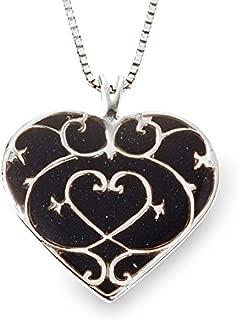 925 Sterling Silver Heart Pendant Fleur de Lis Necklace Handmade Polymer Clay Jewelry, 16.5