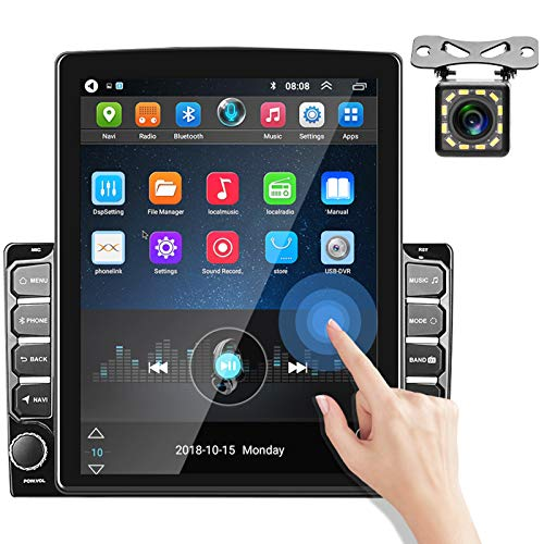 Double Din Android Car Stereo with Bluetooth 9.7'' Vertical Touchscreen Car Radio MP5 Player Support GPS Navigation WiFi FM Radio DVR iOS/Android Mirror Link Reversing Image Input + Backup Camera