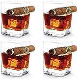 N\A Vidrio de Whisky de 4 unids con Soporte de cigarros, sin Manos para los Amantes del Cigarrillo de cigarros Vidrio de cigarro Ultra Claro de la Moda para el Vino Borbon Brandy (320ml)