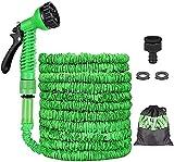 Flexibler Gartenschlauch,15M 50FT Flexischlauch Gartenschlauch, Flexischlauch Bewässerung Stretch Schlauch mit 8 Funktion Garten Handbrause für Gartenbewässerung und Reinigung