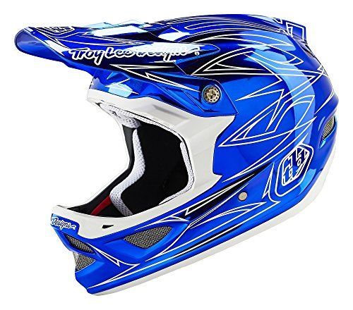 2016 Troy Lee Designs D3 Pinstripe 2 Helmet Blue-Chrome (Small) by Troy Lee Designs