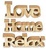 living-by-design 3er Set Schriftzug aus Holz Love Home Relax - weiß altweiß Shabby Vintage -...
