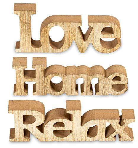 living-by-design 3er Set Schriftzug aus Holz Love Home Relax - weiß altweiß Shabby Vintage - Aufsteller Buchstaben Bild Dekoration Deko (Braun)