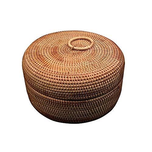 AWYJ Caja de ratán Vintage Ronda Rattan Utilidad Caja de la Cesta de Maquillaje Organizador de contenedores Toallas Debajo de la Cama de Almacenamiento (Color : Natural, Size : 27cm)