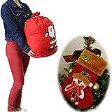 1 calze di Natale, calze da appendere, decorazione dell'albero di Natale, calze da regalo di caramello, ricamate a mano, non tessute, 1 sacchetto regalo di Santa50 x 70 cm.