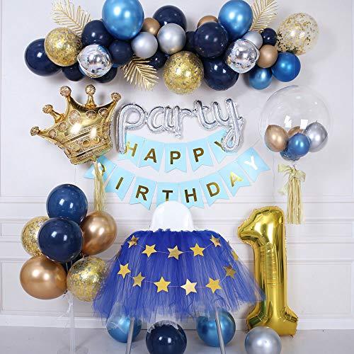 Globos de cumpleaños,Decoracion cumpleaños.Decoraciones de Globos metálicos Azul Medianoche. El Primer cumpleaños de los niños Varones Decora la Pared de Fondo de la Fiesta,Adecuado para cumpleaños