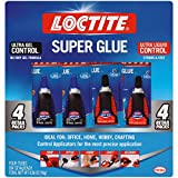 Loctite 2002988 Super Glue Control Gel and Ultra Liquid 4 g Bottles (Pack of 4),...