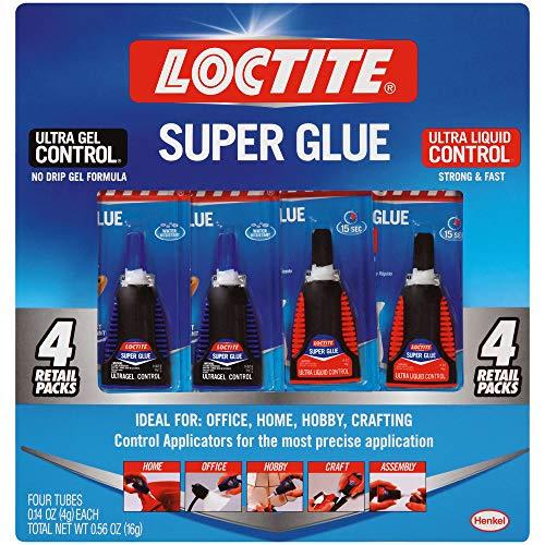 Loctite 2002988 Super Glue Control Gel and Ultra Liquid 4 g Bottles (Pack of 4), 4 Pack, 5 Fl Oz