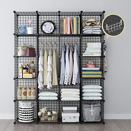 YOZO Wire Cube Storage Portable Wardrobe Closet Organizer Modular Metal Rack Book Shelf MultiFuncation Shelving Unit 20 Cubes Depth 14 inches Black