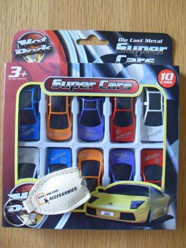 Hot Rods Lot de 10 petites voitures Super voitures en métal moulé. Lot de 10 Hot Rods. Pour plus de 3 ans
