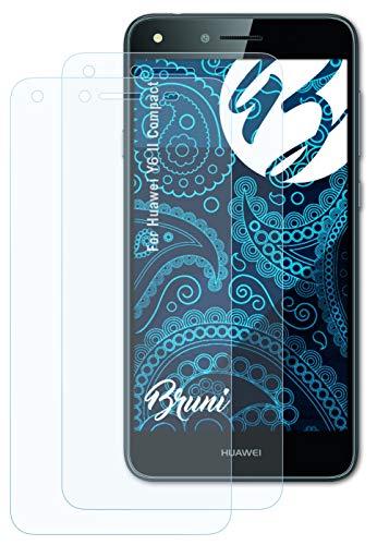 Bruni Schutzfolie kompatibel mit Huawei Y6 II Compact Folie, glasklare Bildschirmschutzfolie (2X)